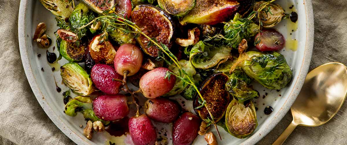Balsamic Roasted Brussels Sprouts with Grapes and Figs